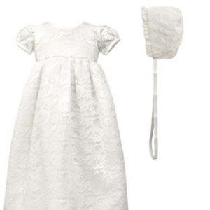 Scalloped Lace Christening Gown & Bonnet 3 mo